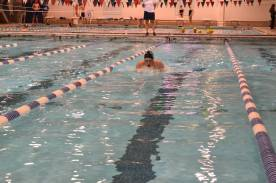 Senior Kelley Kraemer in 100 Yard Breaststroke.