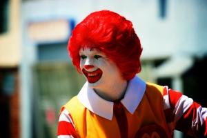 Ronald McDonald in the Burbank Parade, 2008. Photo taken by Carol.